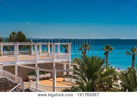 View of public beach Miami Platja Tarragona, Spain. Summertime