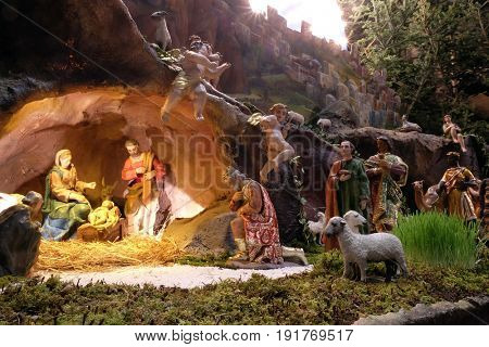 ZAGREB, CROATIA - DECEMBER 28: Nativity Scene, Christmas creche in Zagreb cathedral, on December 28, 2015.