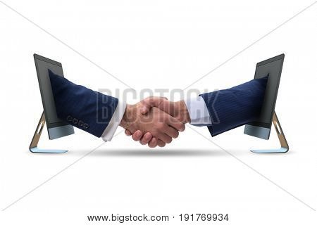 Two hands from screen in handshake concept