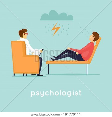 Psychologist at the reception. Flat vector illustration in cartoon style.