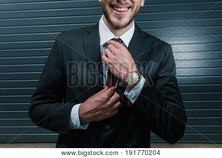 Cropped View Of Businessman Wearing Suit And Watch, Smiling And Tying Necktie