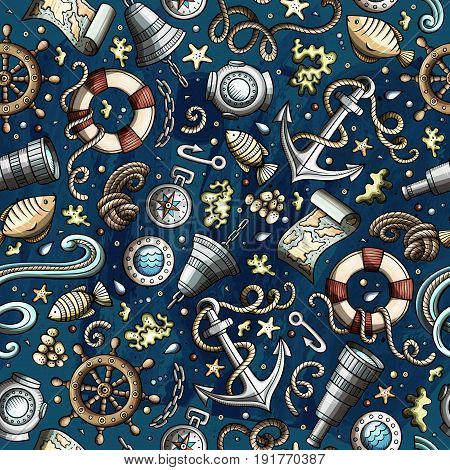 Cartoon cute hand drawn nautical, marine seamless pattern. Colorful detailed, with lots of objects background. Endless funny vector illustration. Bright colors backdrop.