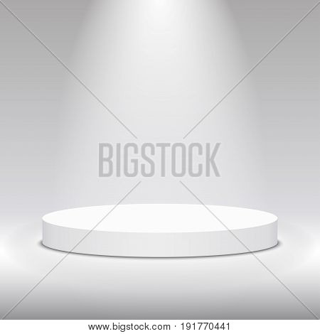 Round white stage podium illuminated with light. Stage vector backdrop. Festive podium scene for award ceremony on white grey background. Vector white pedestal for product presentation.