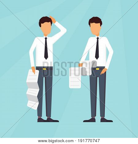 Business characters. Businessman worry about report tax. Deadline vector concept.