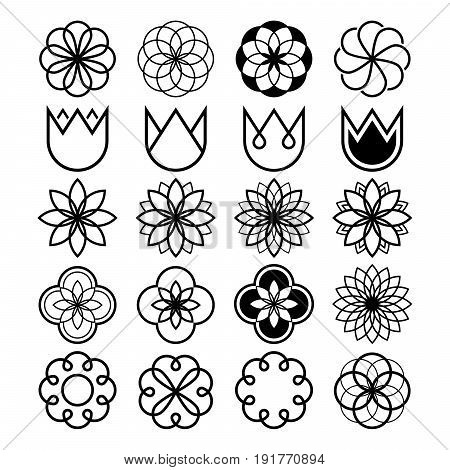 Geometric flowers, abstract flower set, tulip shape, line icons