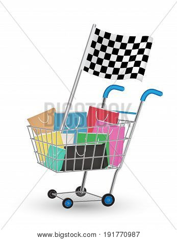 bag on a shopping cart with racing flag