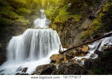 Amazing Mountain Waterfall Near Farchant Village At Garmisch Partenkirchen, Farchant, Bavaria, Germa