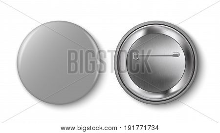 Grey pin button vector. Pin button set. Collection of realistic pin buttons. Grey blank badge pin brooch isolated on white background. 3D vector style. Web button. poster