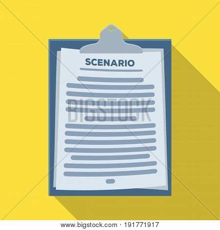 Scenario.Making movie single icon in flat style vector symbol stock illustration .