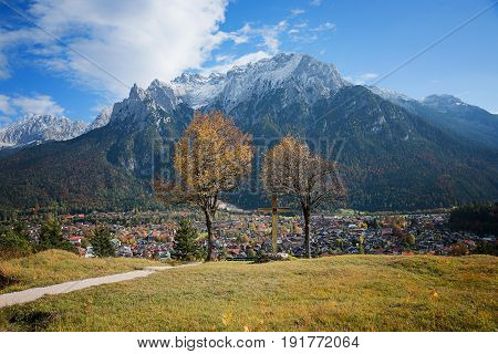 Lookout Point Over Mittenwald Town, Place For Meditation