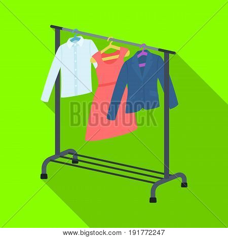 A hanger with things in the wardrobe.Making movie single icon in flat style vector symbol stock illustration .
