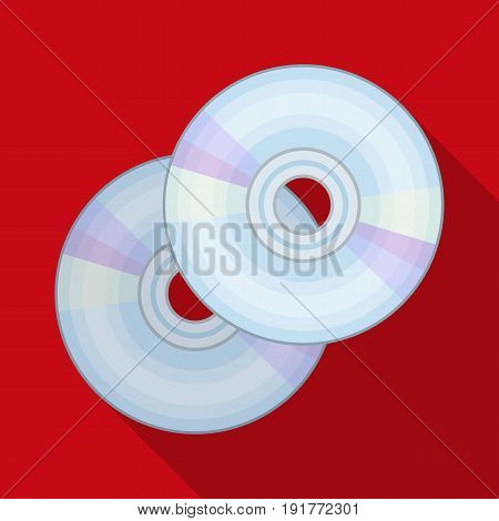 DVD discs.Making movie single icon in flat style vector symbol stock illustration .
