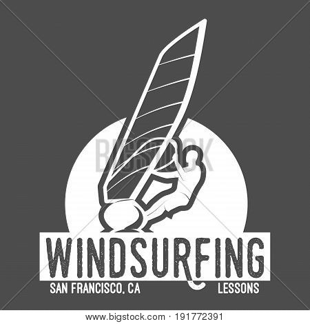 windsurfing retro label, badge, logotypes Surfer vector set. Vintage surf design elements.