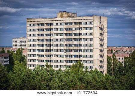 Block of flats in Pripyat ghost town Chernobyl Exclusion Zone Ukraine