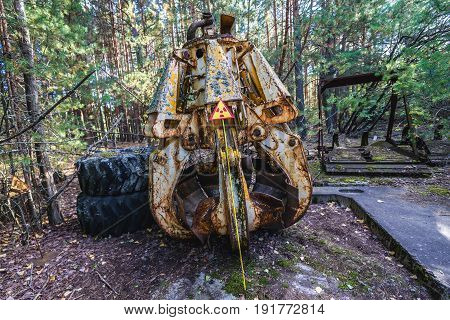 Highly contaminated shell grab in Pripyat city Chernobyl Exclusion Zone Ukraine