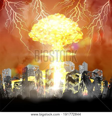 silhouette nuclear bomb over city ruined building