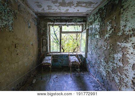Maternity ward in abandoned hospital of Pripyat city Chernobyl Exclusion Zone Ukraine