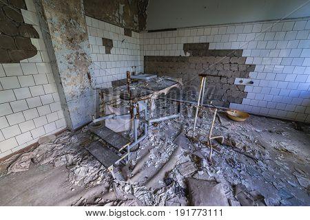 Abandoned hospital of Pripyat city Chernobyl Exclusion Zone Ukraine