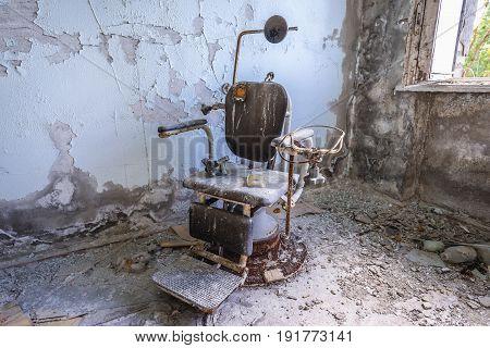 Interior of abandoned hospital of Pripyat city Chernobyl Exclusion Zone Ukraine
