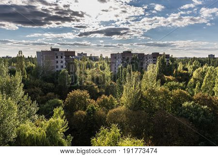 View from the roof of abandoned hospital in Pripyat city Chernobyl Exclusion Zone Ukraine