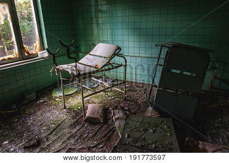 Abandoned hospital in Pripyat city Chernobyl Exclusion Zone Ukraine