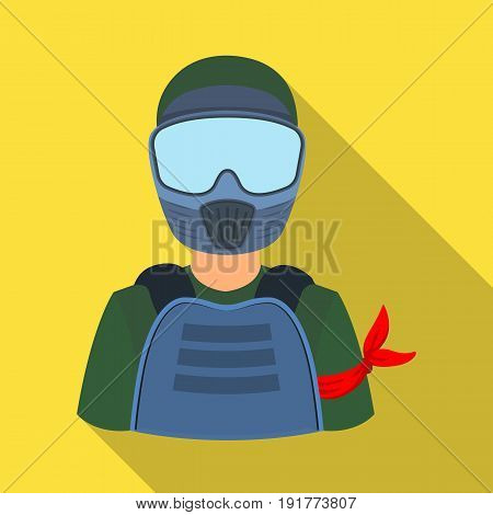 A player in paintball.Paintball single icon in flat style vector symbol stock illustration .