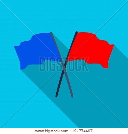 Red and blue flags.Paintball single icon in flat style vector symbol stock illustration .