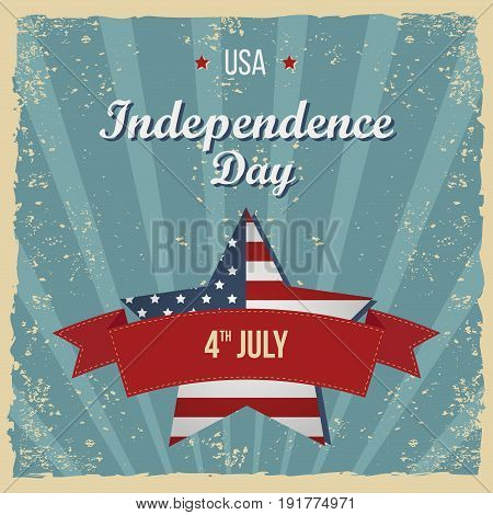 Vintage Style Independence Day poster. Greeting card. Hand-lettering party invitation. Vintage typography illustration with star and stripes. Retro patterns for Posters Flayers and Banner Designs