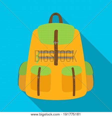 A backpack for things.Tent single icon in flat style vector symbol stock illustration .