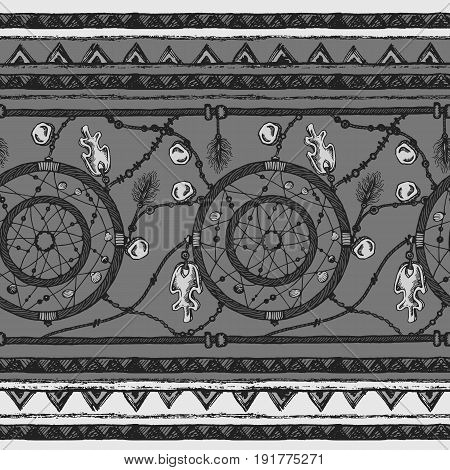 Tribal ethnic stripe seamless pattern with dream catcher elements.