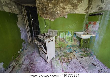 Flat in abandoned military town called Chernobyl-2 in Chernobyl Exclusion Zone Ukraine