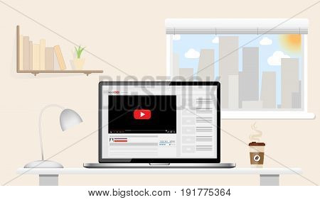 Laptop mockup with online video blog screen standing on table in home office. Sunny day. Vlog concept. Vector illustration