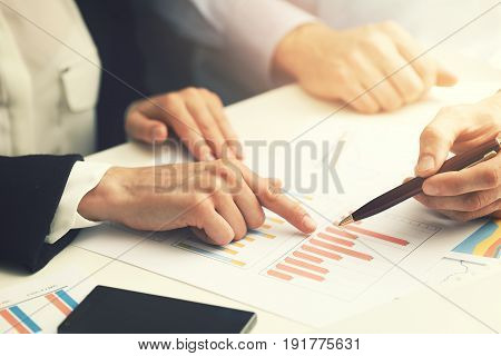 business people working with financial report data analysis