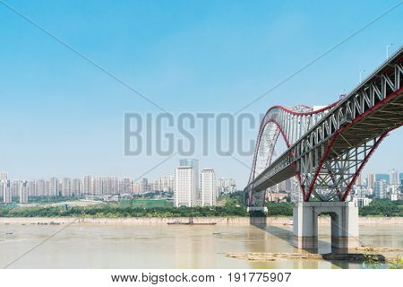 steel bridge over river in chongqing