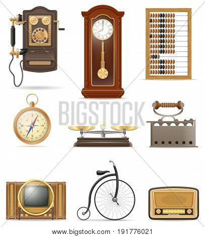set of much objects retro old vintage icons stock vector illustration isolated on white background