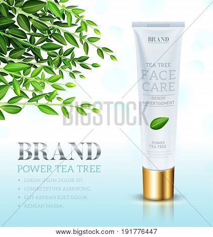 Cosmetic cream ads template Face care cream based Tea tree. Makeup tube template. Vector illustration for cosmetic ads or magazine.