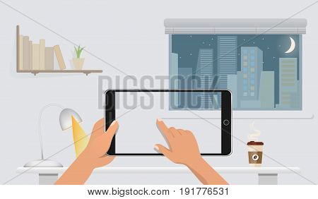 Hands holding Blank smart phone without screen on the table in home office. Window, night cite, books, lamp and coffee on the background. Vector illustration