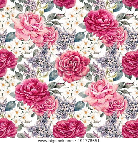 Beautiful seamless pattern with hand drawn watercolor roses and other flowers