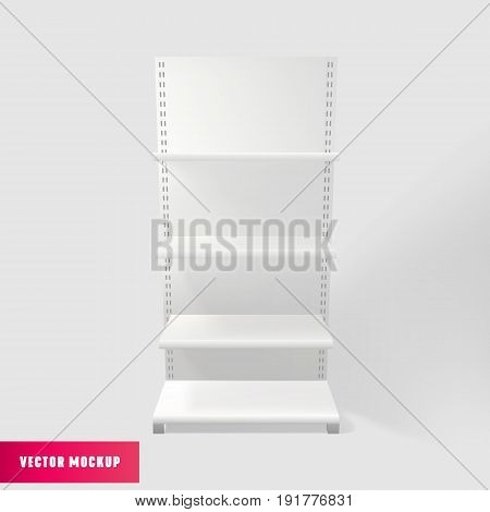 Shelves Mockup. Empty retail Showcase Display Vector realistic White Supermarket advertising stand.