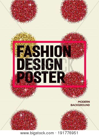 Abstract fashion poster with red glitter circles. Background for flyer poster banner web card design. Modern and stylish abstract design poster.