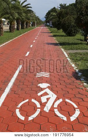 Cyclist sign at the Bicycle path on the Batumi Boulevard, Georgia