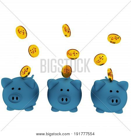 three blue piggy banks for savings with coins in 3D render image