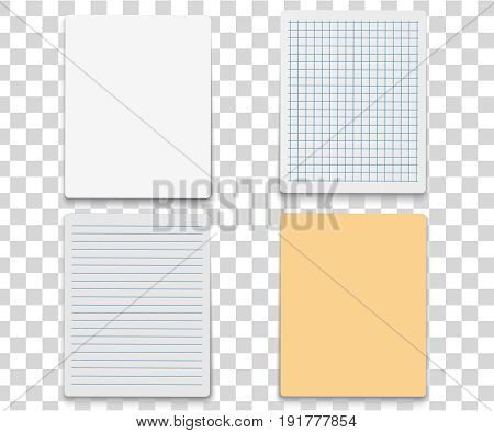 Colorfull and white stickers square. Blank colorful sticky notes set. Sticky reminder notes realistic colored paper sheets office papers with shadow