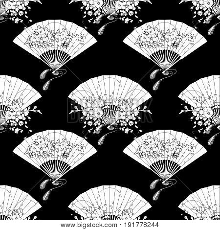Graphic Hand fans with traditional japanese design and sakura decorations. Vector seamless pattern. Coloring book page design for adults and kids