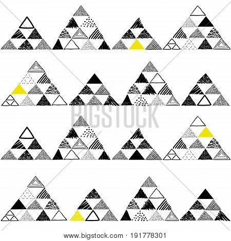 Vector seamless pattern with hand drawn triangles on white background. Can be used for textile, wallpaper, wrapping paper, web