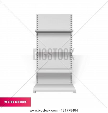 White Empty Advertising Stand front view. Realistic clean Shelves Mockup.