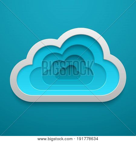 Vector Cloud icon shape. Web storage decorative template. Concept design for cards posters flyers stickers.