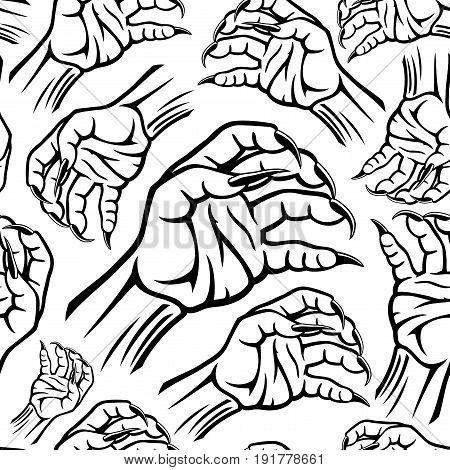 Pattern for seamless background with werewolf's hand.