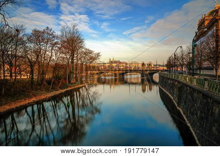 Amazing Sunrise View At St. Vitus Cathedral And Bridge With Clea