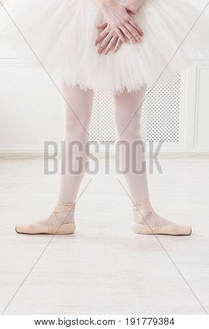 Ballerina legs second position in pointe, ballet dancer concept background